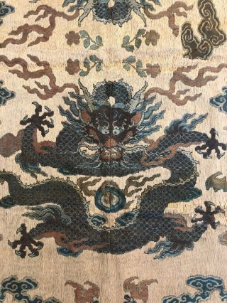Antique Chinese Imperial Yellow Satin Dragon Panel Embroidered Kesi Gold Qing 2