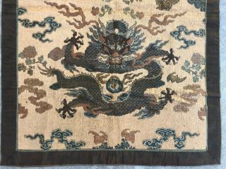Antique Chinese Imperial Yellow Satin Dragon Panel Embroidered Kesi Gold Qing 3