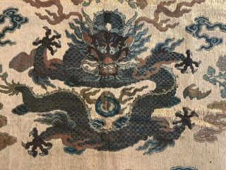Antique Chinese Imperial Yellow Satin Dragon Panel Embroidered Kesi Gold Qing 4