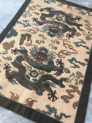 Antique Chinese Imperial Yellow Satin Dragon Panel Embroidered Kesi Gold Qing 5