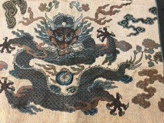 Antique Chinese Imperial Yellow Satin Dragon Panel Embroidered Kesi Gold Qing 6