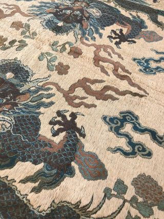 Antique Chinese Imperial Yellow Satin Dragon Panel Embroidered Kesi Gold Qing 8