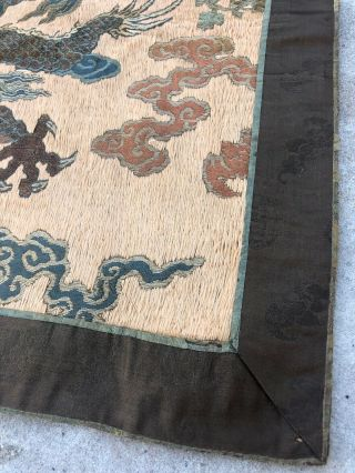 Antique Chinese Imperial Yellow Satin Dragon Panel Embroidered Kesi Gold Qing 9