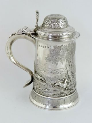 Magnificent Stag Rural Scene Georgian Silver Pint Tankard London 1796 Shrewsbury