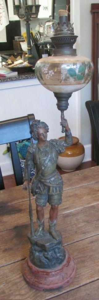 Antique 1880's Charles Ruchot Chasse Spelter Boy W/ Rifle Oil Lamp Paris France