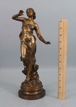 Antique Julien Causse French Art Nouveau Sensual Young Woman Bronze Sculpture