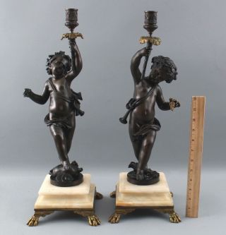Pair Antique Victorian Bronze & Marble Cherub Puti Children Candlestick Lamps Nr