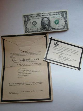 Very Rare Wwii Large German Death Cards,  Stamped And Mailed By Family