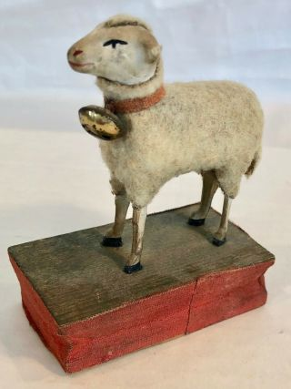 Charming Antique German Wooly Sheep With Bell Squeak Toy - All