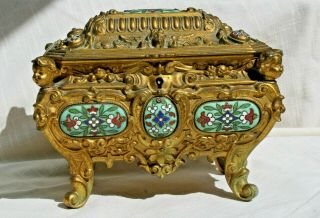 Antique French Gilt Bronze Champleve Enamel Jewelry Box Casket