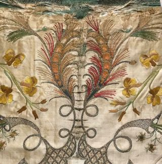 Exquisite Rare Early 18th Century French Silk & Gold Thread Embroidery,  82