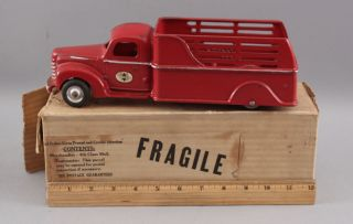 Early 1940s Antique Arcade Cast Iron International 709 Stake Truck,  Box