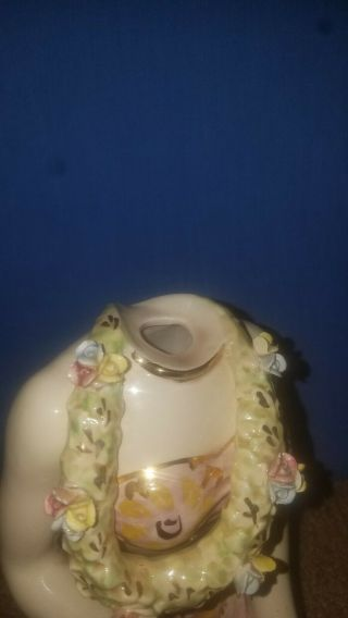 VERY RARE Vintage Porcelain Hawaiian Girl Figurine (decanter/musicbox) 3