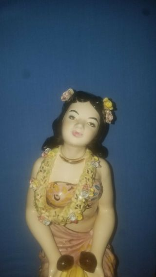 VERY RARE Vintage Porcelain Hawaiian Girl Figurine (decanter/musicbox) 5