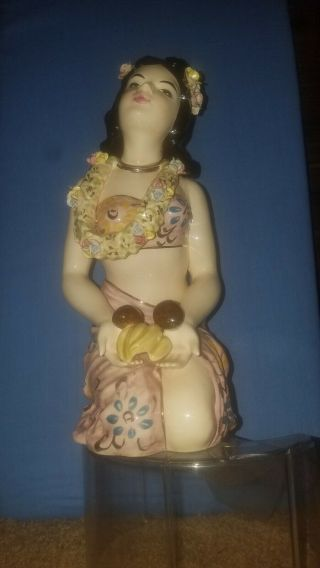 VERY RARE Vintage Porcelain Hawaiian Girl Figurine (decanter/musicbox) 8