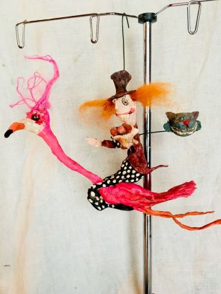 """Primitive Handsculpted Papermache Mad Hatter Riding Flamingo Cheshire Cat 8"""""""