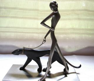 Art Deco Hagenauer Style Nude Lady Walking A Wild Cat Cougar On A Chain Figurine