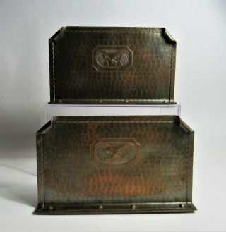 Roycroft Hand Hammered Copper Bookends W Owls