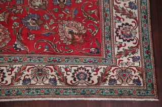 Antique Worn Persian Area Rug 10x12 Red Floral Oriental Hand - Knotted Wool Carpet