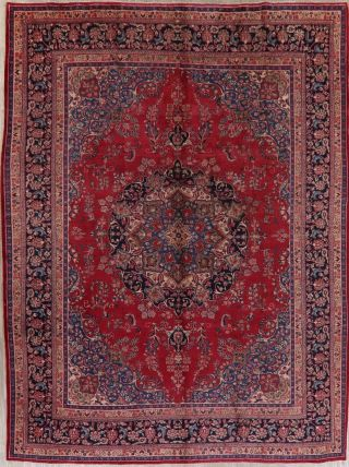 Vintage Traditional Persian Oriental Area Rug 10x13 Red Blue Hand - Knotted Wool