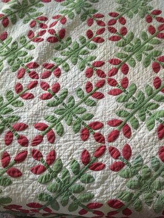 Antique Quilt Red N Green 98x100 Meticulously Made In 1800s