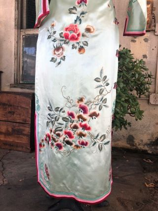 Antique 1930s Chinese Qipao Cheongsam Blue Silk Embroidery Banner Dress Vintage 10