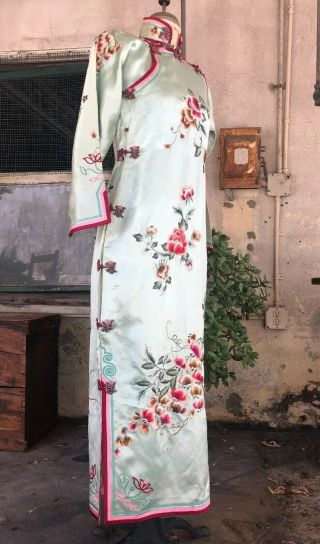 Antique 1930s Chinese Qipao Cheongsam Blue Silk Embroidery Banner Dress Vintage