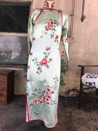 Antique 1930s Chinese Qipao Cheongsam Blue Silk Embroidery Banner Dress Vintage 3