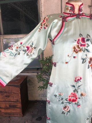 Antique 1930s Chinese Qipao Cheongsam Blue Silk Embroidery Banner Dress Vintage 4