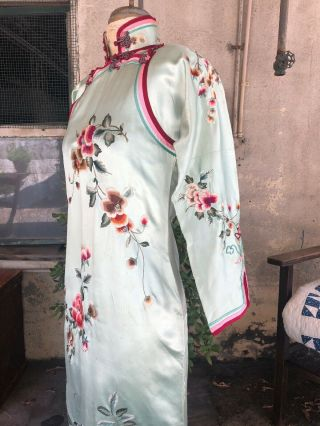 Antique 1930s Chinese Qipao Cheongsam Blue Silk Embroidery Banner Dress Vintage 6