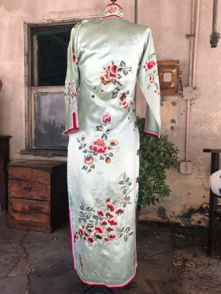 Antique 1930s Chinese Qipao Cheongsam Blue Silk Embroidery Banner Dress Vintage 9