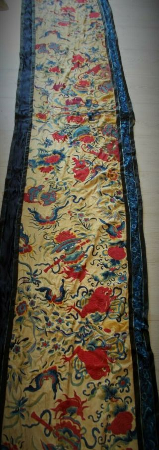 Chinese Antique Hand Embroidered Silk Banner Some Damage But Wonderful Colours