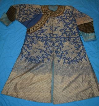 Qing Dynasty Silk Longpao Chinese Court Robe For Men Dragon Robe W/ Tag Inside