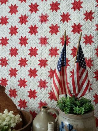 """3 """" Stars Patriotic & Stunning Small Scale Antique Red & White Star Quilt C1880s"""