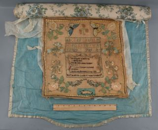 19thc Antique 1838 American Folk Art Silk Sampler,  Flowers,  Butterflies,  Rabbit