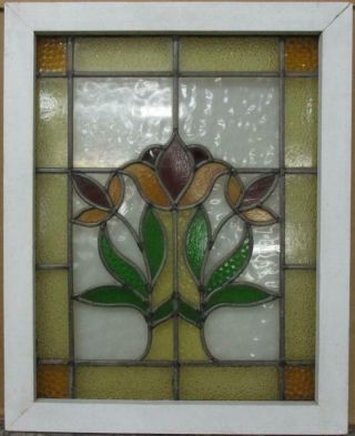"""Midsize Old English Leaded Stained Glass Window Bordered Floral 20.  5 """" X 25.  75 """""""