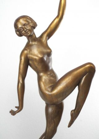 1930s - Art Deco Nude Dancer Lady Figural Bronze Patina Statue On Marble Base