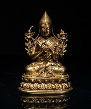 19th Kuangxu Period Chinese Antique Gilt Bronze Buddha