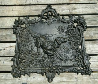 Large Vintage Cast Iron Dog Plaque Wall Hanging Relief Hound Hunting Lodge Decor
