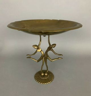 1920s Art Deco Gold Figure Brass Footed Bowl Compote Vintage Hagenauer Style