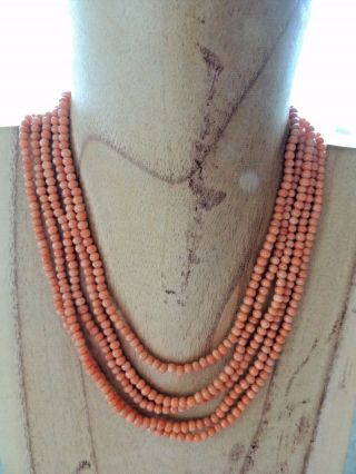 Antique 5 Strand Chinese Pink Coral Necklace And Bracelet