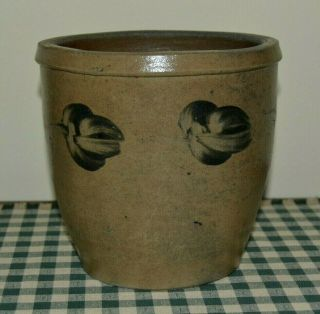 Antique Cobalt Blue Decorated Stoneware Crock