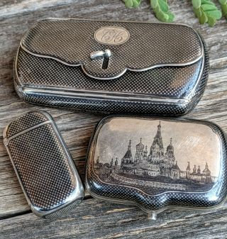 19th C Russian Matching Niello Snuff Box Cigarette & Match Cases 84 Silver