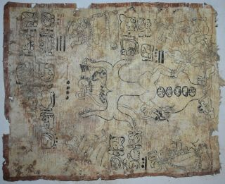 Orig $1099 Wow Pre Columbian Mayan Bark Book Pages 18in Prov