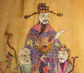 A Huge Antique Chinese Embroidered Panel Fu Shou Lu 19th Century