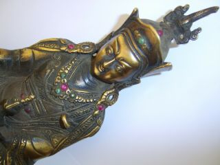 Bejewelled Chinese Gilt Bronze Temple Buddha God Figure Turquoise And Red Stones