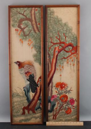 Pr Antique 1930s Japanese Bird Of Prey,  Silk Embroidery Diptych Panels