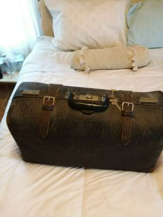 Vintage Alligator Suitcase In Pristine With Key