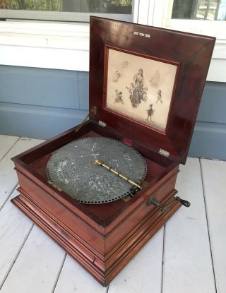 Antique Large 19th Century 15 1/2 Disc Dual Comb Mahogany Regina Music Box