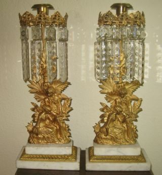 19th C.  Girandole Candle Holders Gilt Bronze Double Marble Base Snowflake Prisim